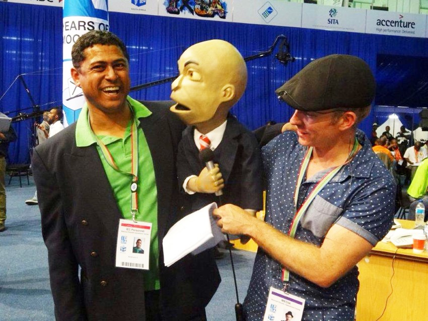 Granville being interviewed by Chester Missing (and his sidekick Conrad Koch) at the results centre after the 2014 elections.